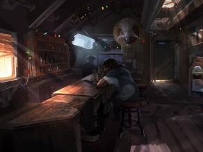 Jim Raynor v baru na Mar Saře