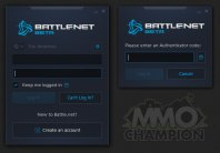 Přihlašovací obrazovky Bnet klienta
